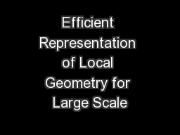 Efficient Representation of Local Geometry for Large Scale PowerPoint PPT Presentation