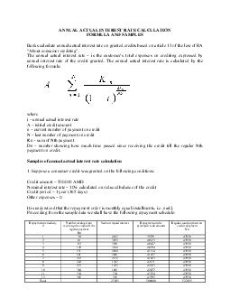 ANNUAL ACTUAL INTEREST RATE CALCULATION FORMULA AND SAMPLES Banks calculate annu