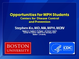 Opportunities for MPH