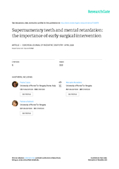 management for early removal of supernumerary teethThe subject,referre