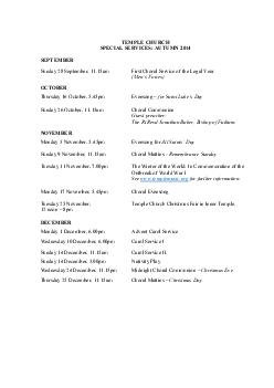 TEMPLE CHURCH SPECIAL SERVICES AUTUMN  SEPTEMBER Sunday  September