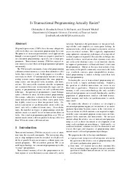 Is Transactional Programming Actually Easier Christopher J PDF document - DocSlides