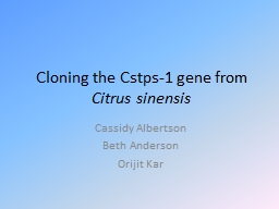 Cloning the Cstps-1 gene from