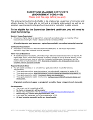 SUPERVISORSTANDARD CERTIFICATE(ENDORSEMENT CODE: 0106Please print this