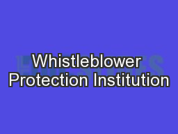 Whistleblower Protection Institution