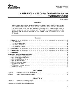 Application Report SPRA  June  A DSPBIOS AIC Codec Device Driver for the TMSC DSK Organization ABSTRACT This document describes the usage and design of a device driver for the AIC audio codec on the