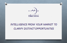 Intelligence from your market to clarify distinct