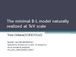 The minimal B-L model naturally realized at TeV scale
