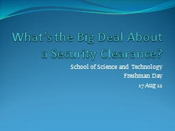What�s the Big Deal About a Security Clearance?