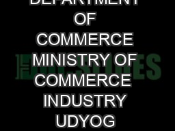 CITIZENS CHARTER  DEPARTMENT OF COMMERCE MINISTRY OF COMMERCE  INDUSTRY UDYOG BHAWAN NEW DELHI
