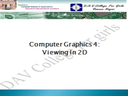 Computer Graphics 4: PowerPoint PPT Presentation