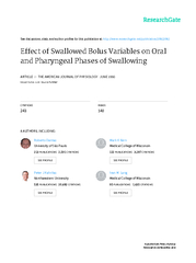 Effect of swallowed bolus variables on oral and pharyngeal phases of s