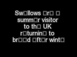 Swllows r  summr visitor to th UK rturnin to brd ftr wint