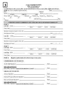 LATE ADDDROP FORM Office of the Registrar See Instructions on Back Use this form