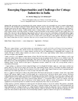 International Journal of Scientific and Research Publications Volume  Issue  March  ISSN   Emerging Opportunities and Challenges for Cottage Industries in India Dr