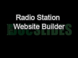 Radio Station Website Builder