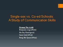 Single-sex vs. Co-ed Schools: