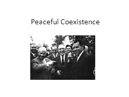 Peaceful Coexistence PowerPoint PPT Presentation