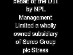 The National Physical Laboratory is operated on behalf of the DTI by NPL Management Limited a wholly owned subsidiary of Serco Group plc Stress Corrosion Cracking Guides to Good Practice in Corrosion