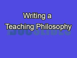 Writing a Teaching Philosophy