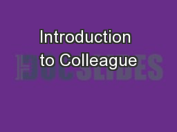 Introduction to Colleague