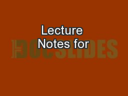 Lecture Notes for
