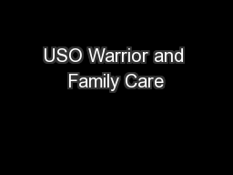 USO Warrior and Family Care