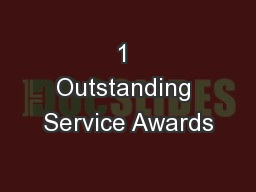 1 Outstanding Service Awards