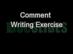 Comment Writing Exercise