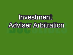 Investment Adviser Arbitration