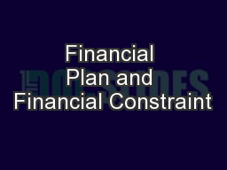 Financial Plan and Financial Constraint