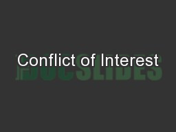 Conflict of Interest PowerPoint PPT Presentation