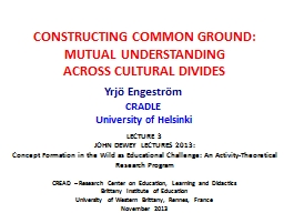 CONSTRUCTING COMMON GROUND: PowerPoint PPT Presentation