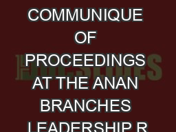 COMMUNIQUE OF PROCEEDINGS AT THE ANAN BRANCHES LEADERSHIP R