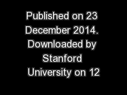 Published on 23 December 2014. Downloaded by Stanford University on 12