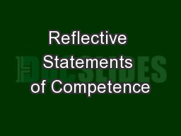 Reflective Statements of Competence PowerPoint PPT Presentation