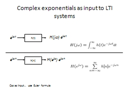 Complex exponentials as input to LTI systems