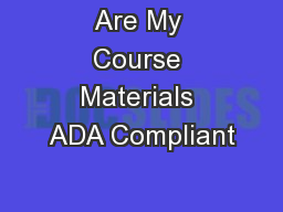 Are My Course Materials ADA Compliant