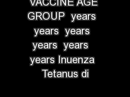 VACCINE AGE GROUP  years  years  years  years  years   years Inuenza  Tetanus di PowerPoint PPT Presentation