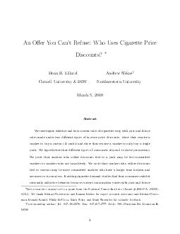 An Oer You Cant Refuse Who Uses Cigarette Price Discounts Dean R