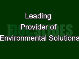 Leading Provider of Environmental Solutions