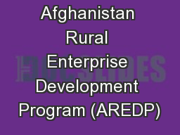 Afghanistan Rural Enterprise Development Program (AREDP)
