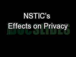 NSTIC's Effects on Privacy