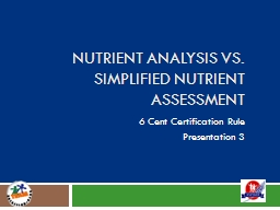 Nutrient Analysis vs. Simplified Nutrient Assessment PowerPoint PPT Presentation
