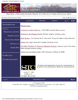 Technicalities - the online newsletter for STC RMC