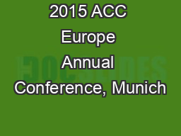 2015 ACC Europe Annual Conference, Munich
