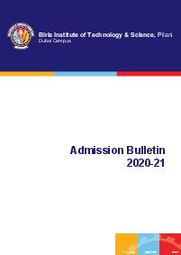 Admission Bulletin    BITS Pilani Dubai Campus  BITS VISION SCIENTIlCAPPROACHINILANIWHICHMEANSTHEREWOULD TOCULTIVATEASCIENTIlCMINDv The Late Shri G