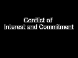 Conflict of Interest and Commitment