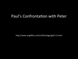 Paul's Confrontation with Peter
