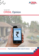 Telecoms front-runners to set up payments banks CRISIL Research believ